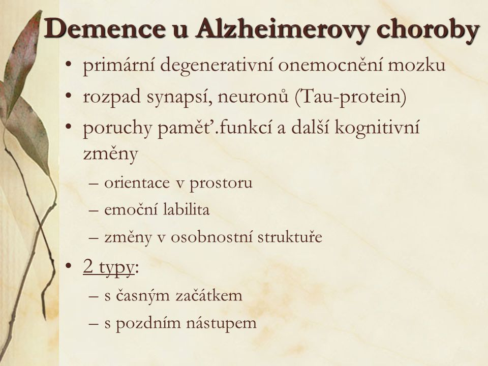 Demence u Alzheimerovy choroby
