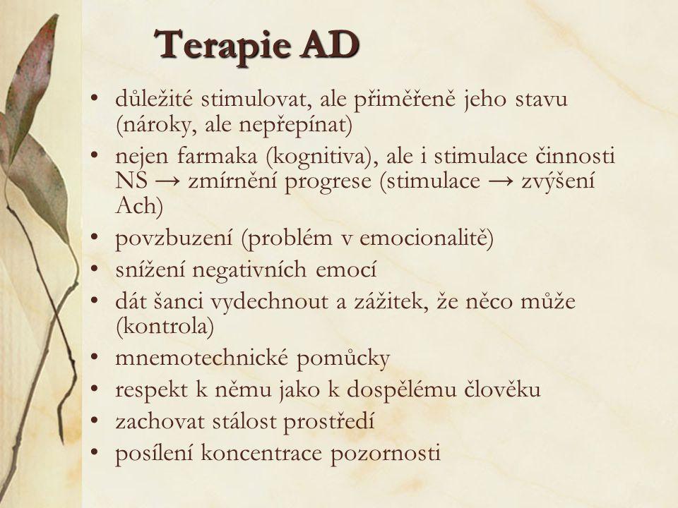 Terapie AD důležité stimulovat, ale přiměřeně jeho stavu (nároky, ale nepřepínat)