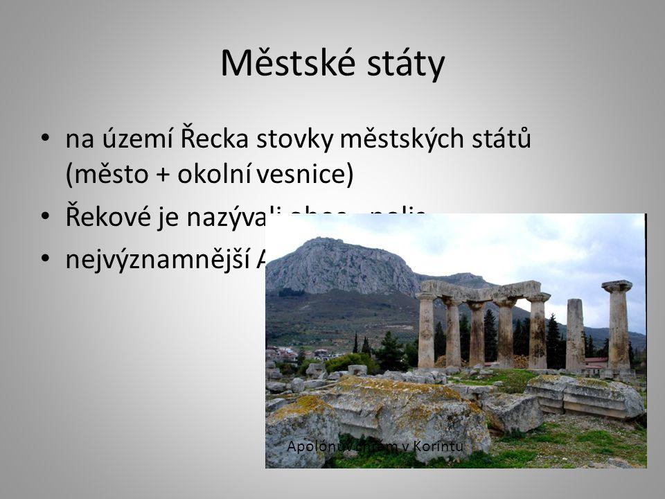 Městské státy na území Řecka stovky městských států (město + okolní vesnice) Řekové je nazývali obec - polis.