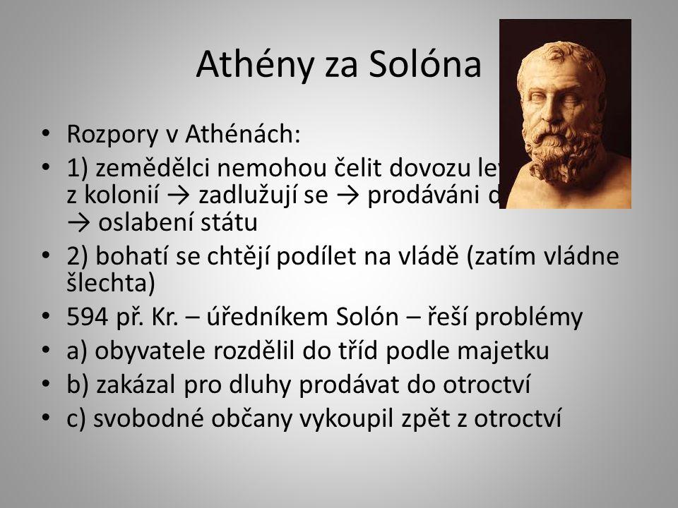 Athény za Solóna Rozpory v Athénách: