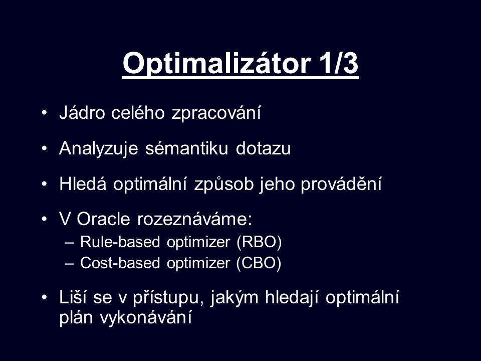 Optimalizátor 1/3 Jádro celého zpracování Analyzuje sémantiku dotazu