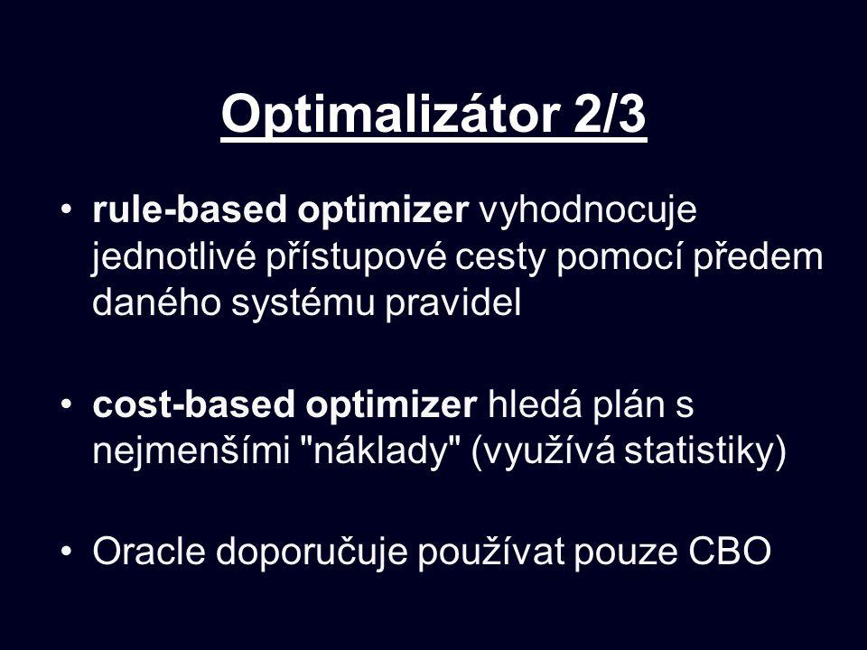 Optimalizátor 2/3 rule-based optimizer vyhodnocuje jednotlivé přístupové cesty pomocí předem daného systému pravidel.