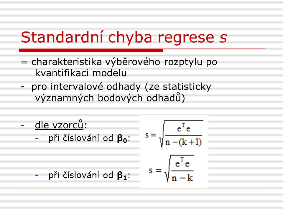 Standardní chyba regrese s