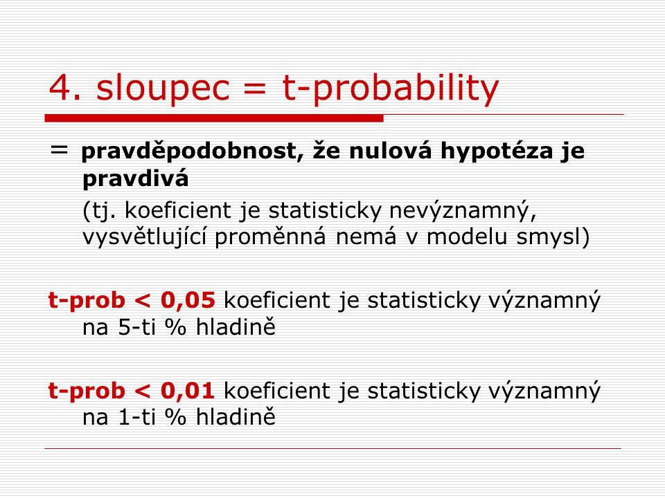 4. sloupec = t-probability