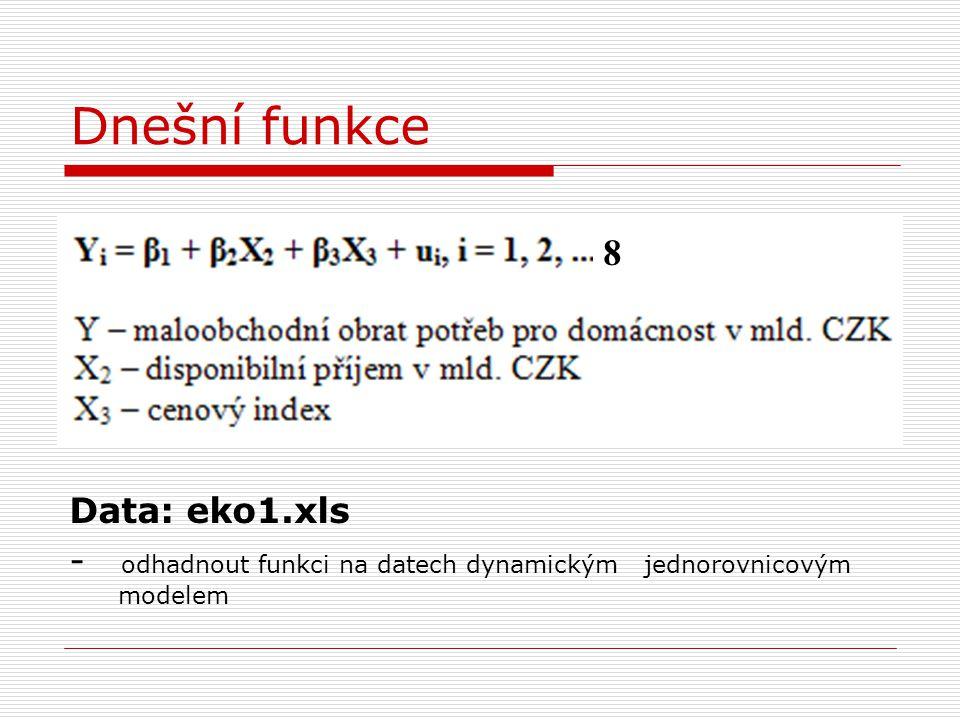 Dnešní funkce 8 Data: eko1.xls