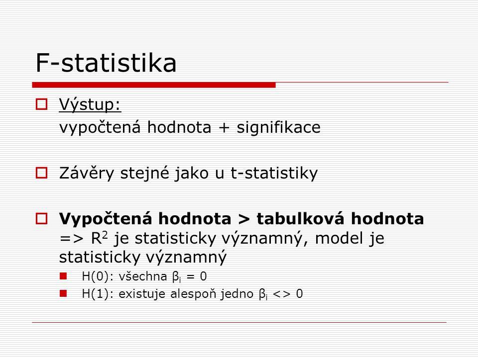 F-statistika Výstup: vypočtená hodnota + signifikace