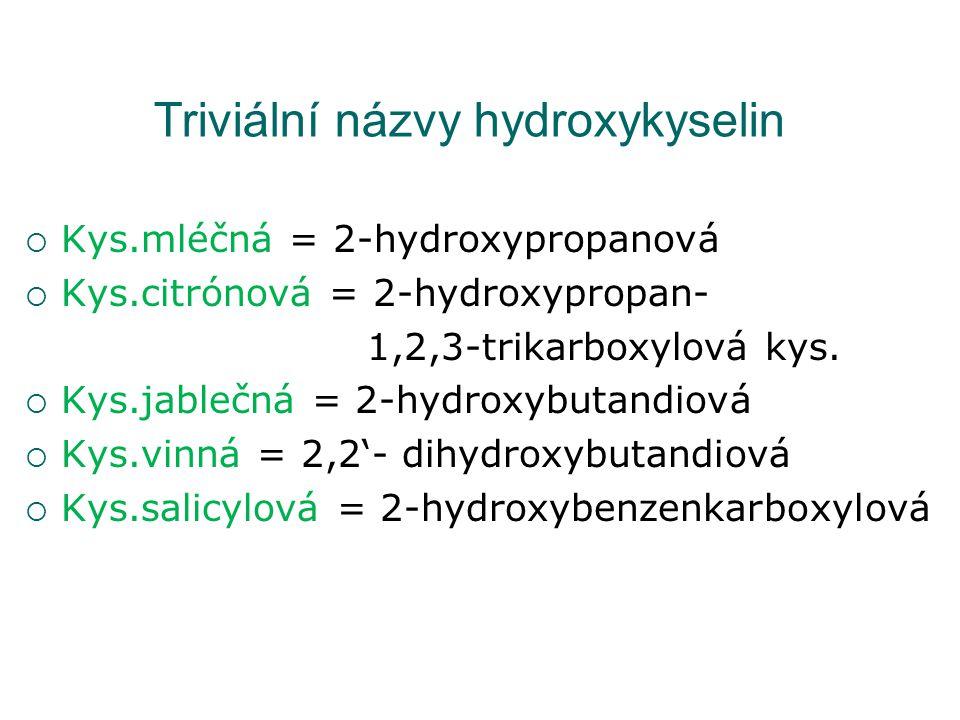 Triviální názvy hydroxykyselin