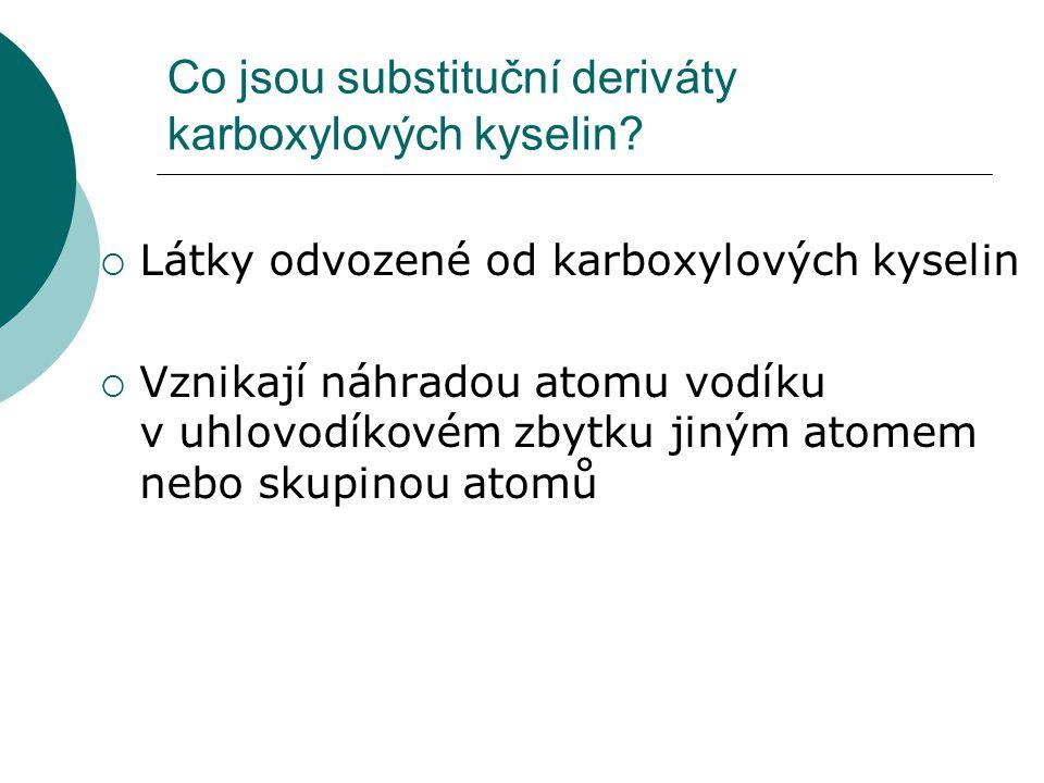 Co jsou substituční deriváty karboxylových kyselin