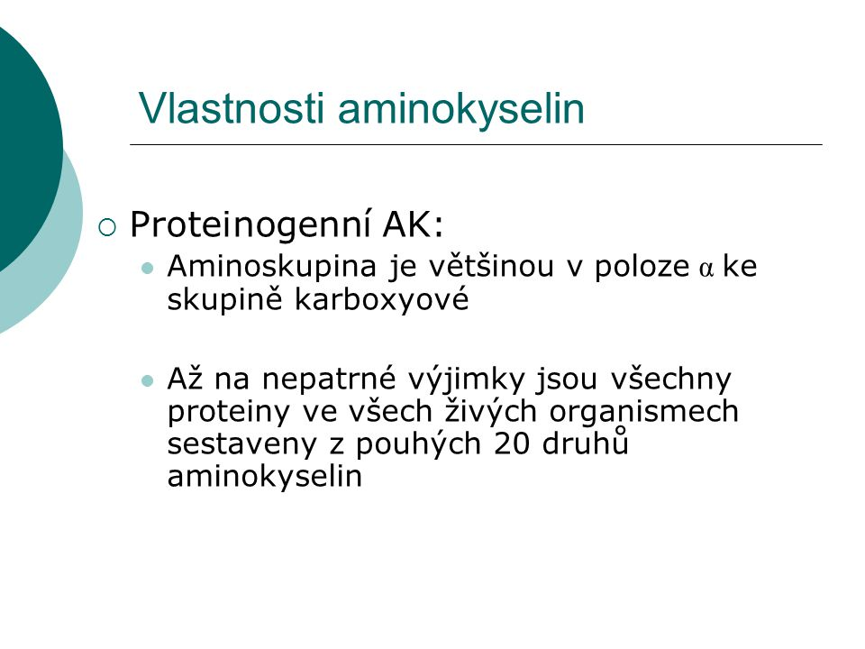Vlastnosti aminokyselin