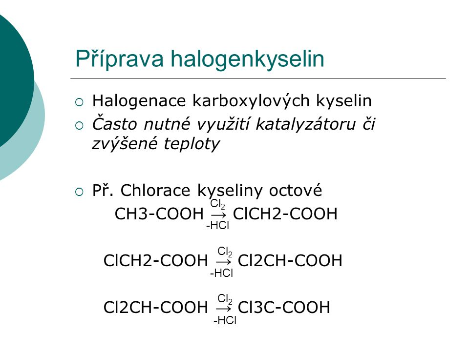 Příprava halogenkyselin