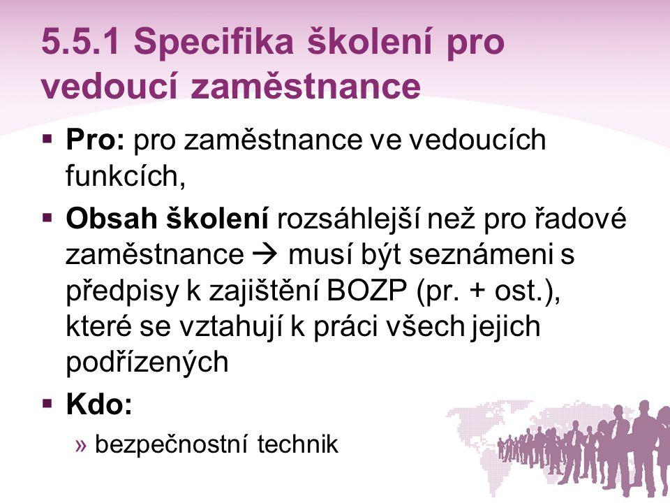 5.5.1 Specifika školení pro vedoucí zaměstnance