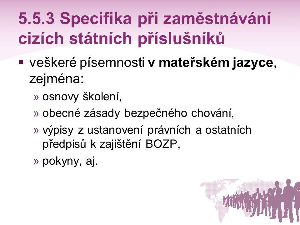 5.5.3 Specifika při zaměstnávání cizích státních příslušníků