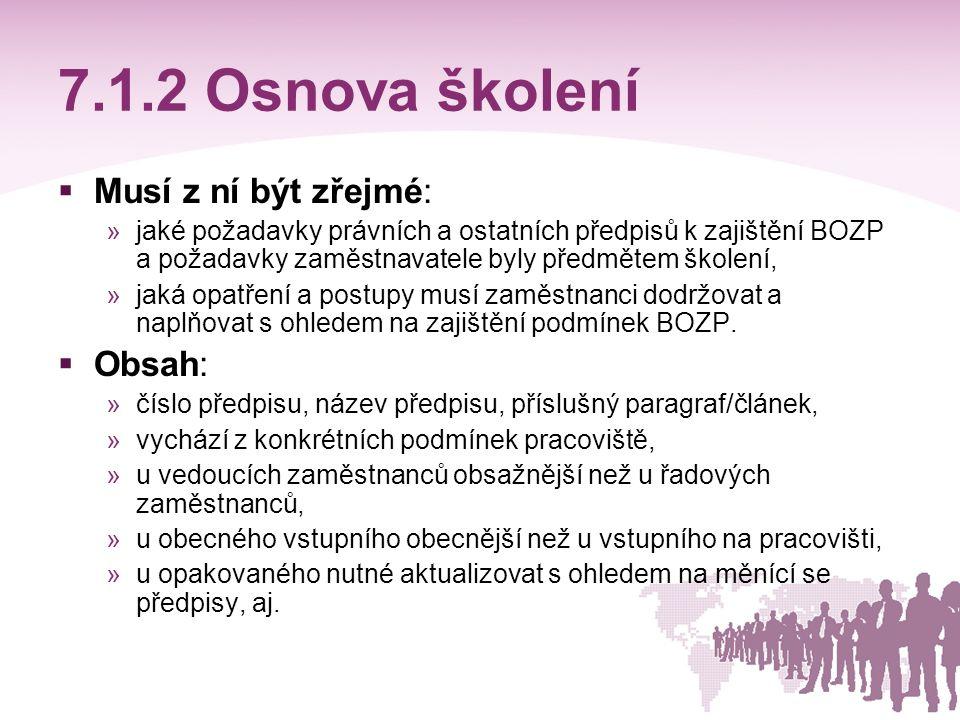7.1.2 Osnova školení Musí z ní být zřejmé: Obsah: