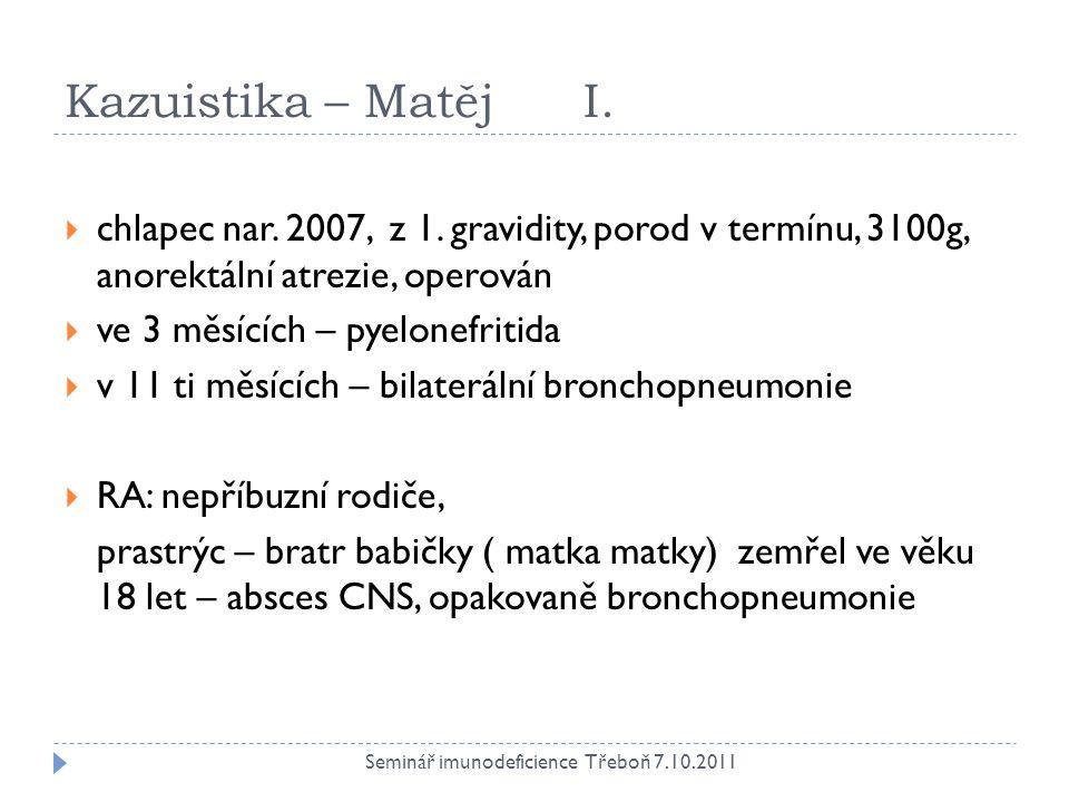 Kazuistika – Matěj I. chlapec nar. 2007, z 1. gravidity, porod v termínu, 3100g, anorektální atrezie, operován.