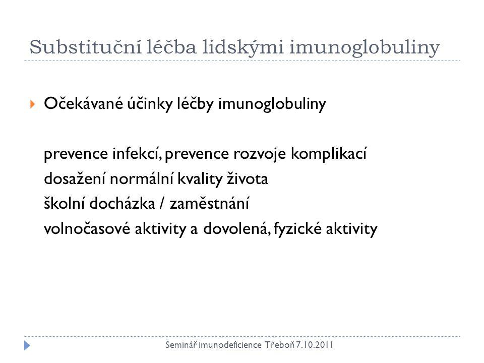 Substituční léčba lidskými imunoglobuliny
