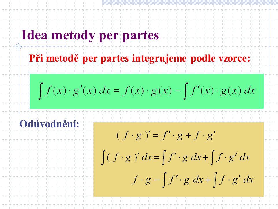 Idea metody per partes Při metodě per partes integrujeme podle vzorce: