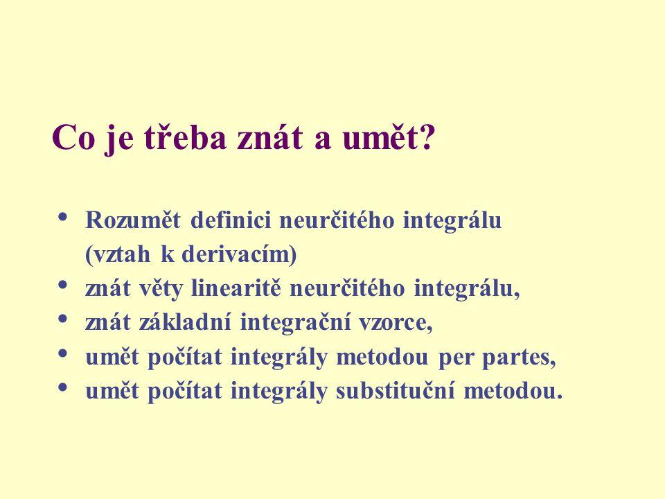 Co je třeba znát a umět Rozumět definici neurčitého integrálu