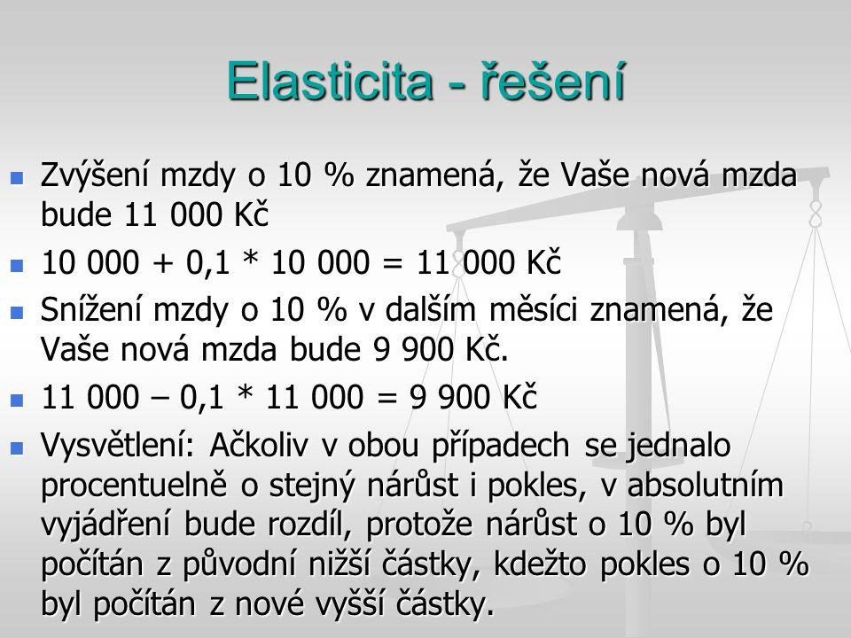 Elasticita - řešení Zvýšení mzdy o 10 % znamená, že Vaše nová mzda bude 11 000 Kč. 10 000 + 0,1 * 10 000 = 11 000 Kč.