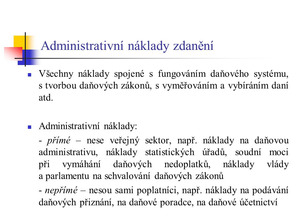 Administrativní náklady zdanění