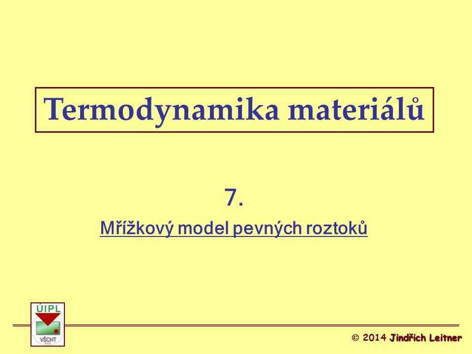 Termodynamika materiálů Mřížkový model pevných roztoků