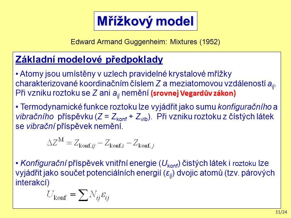 Mřížkový model Základní modelové předpoklady