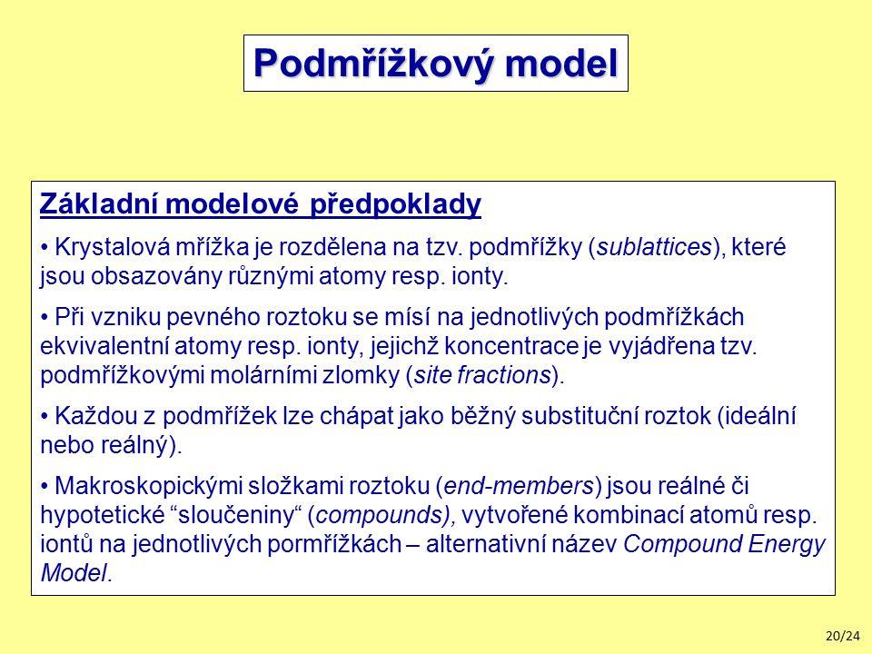 Podmřížkový model Základní modelové předpoklady
