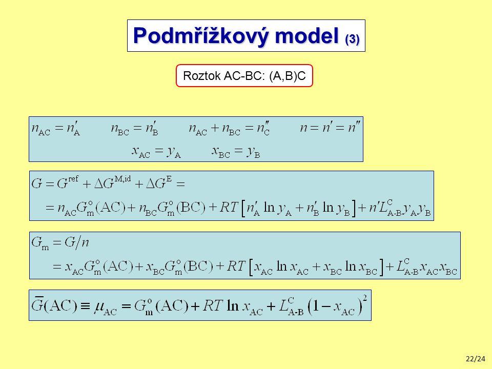 Podmřížkový model (3) Roztok AC-BC: (A,B)C