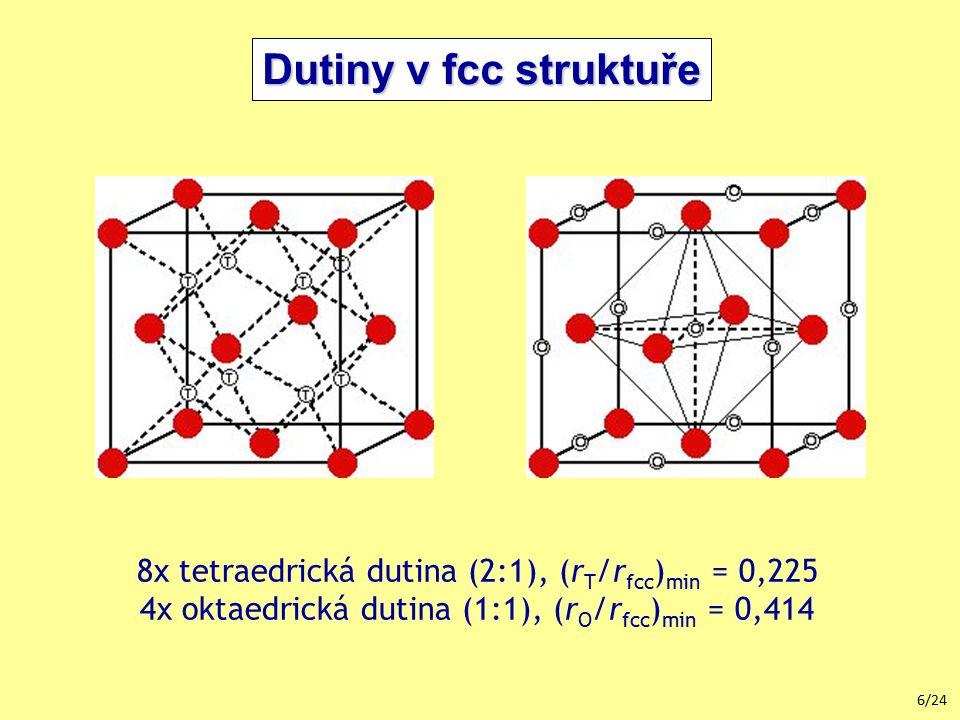 Dutiny v fcc struktuře 8x tetraedrická dutina (2:1), (rT/rfcc)min = 0,225.