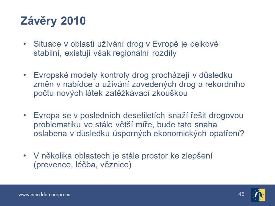 Závěry 2010 Situace v oblasti užívání drog v Evropě je celkově stabilní, existují však regionální rozdíly.