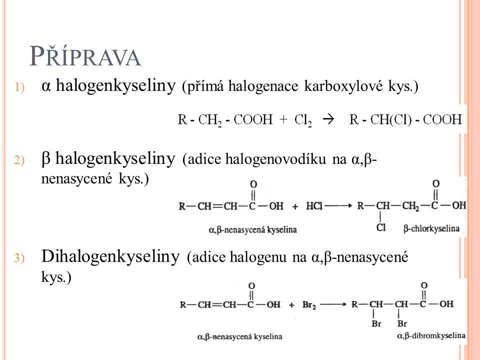 Příprava α halogenkyseliny (přímá halogenace karboxylové kys.)