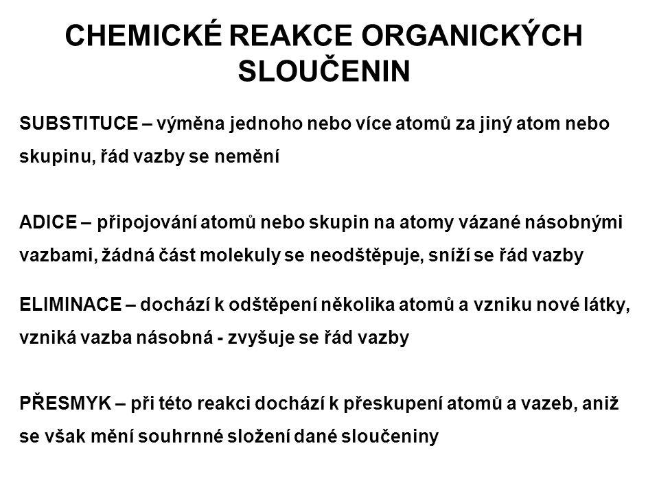 CHEMICKÉ REAKCE ORGANICKÝCH SLOUČENIN