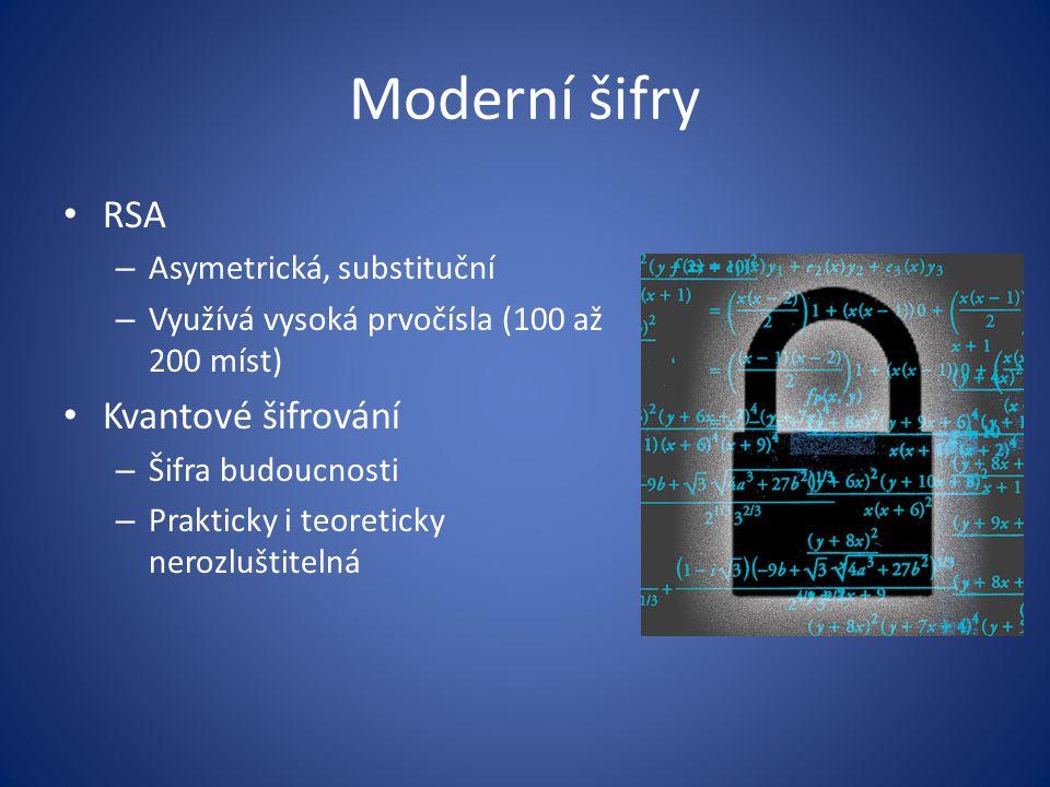 Moderní šifry RSA Kvantové šifrování Asymetrická, substituční