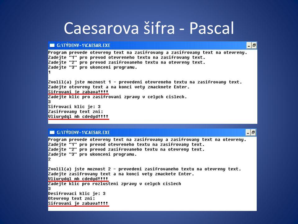 Caesarova šifra - Pascal