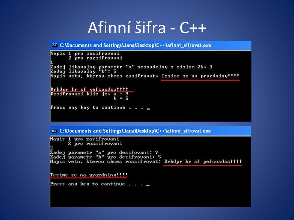 Afinní šifra - C++