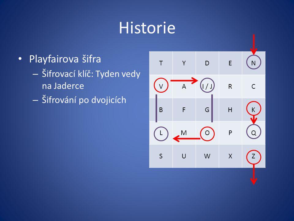 Historie Playfairova šifra Šifrovací klíč: Tyden vedy na Jaderce