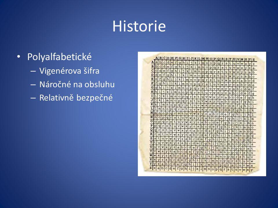 Historie Polyalfabetické Vigenérova šifra Náročné na obsluhu