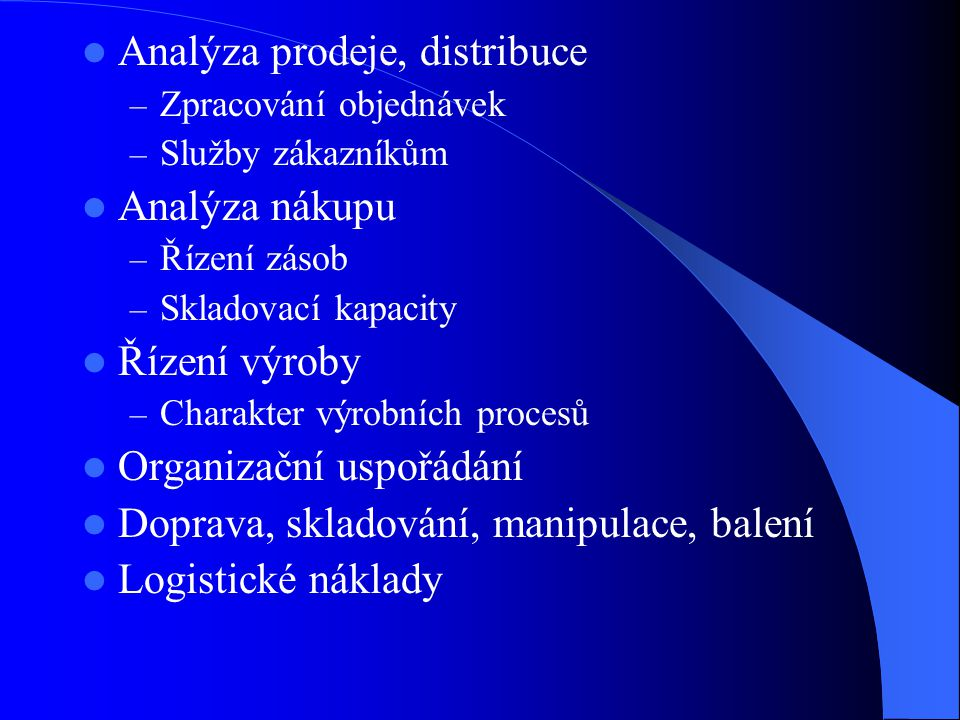 Analýza prodeje, distribuce