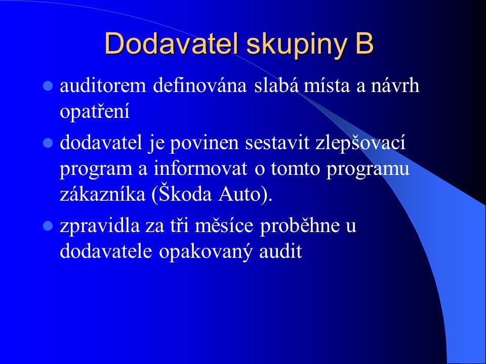 Dodavatel skupiny B auditorem definována slabá místa a návrh opatření