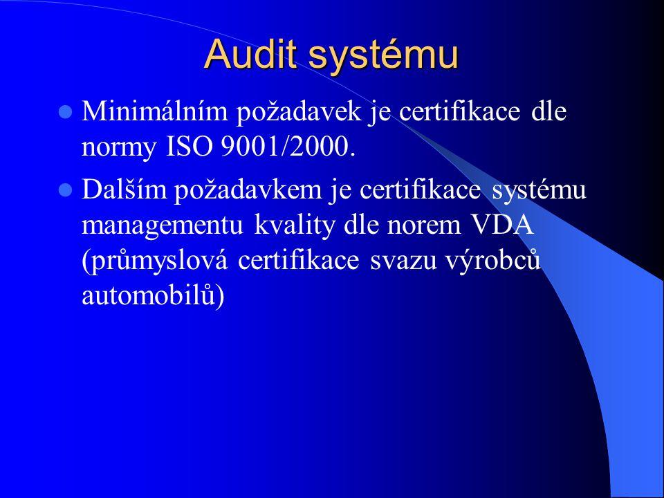 Audit systému Minimálním požadavek je certifikace dle normy ISO 9001/2000.
