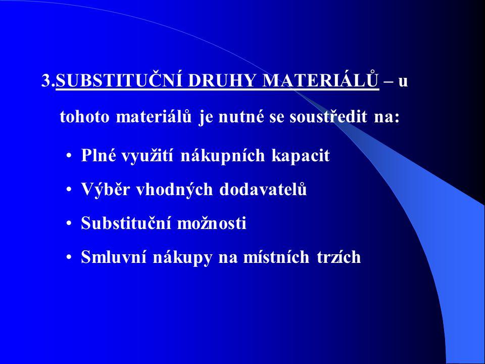 3.SUBSTITUČNÍ DRUHY MATERIÁLŮ – u tohoto materiálů je nutné se soustředit na: