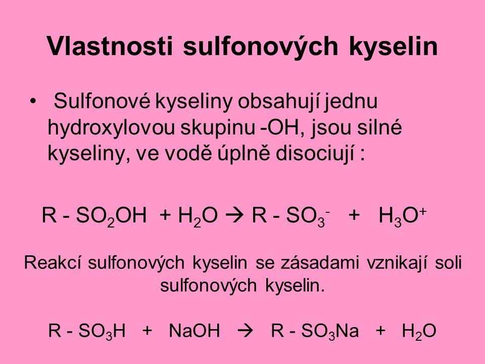 Vlastnosti sulfonových kyselin