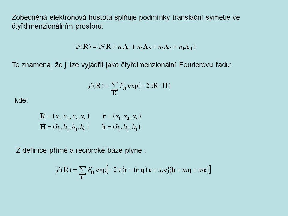Zobecněná elektronová hustota splňuje podmínky translační symetie ve čtyřdimenzionálním prostoru: