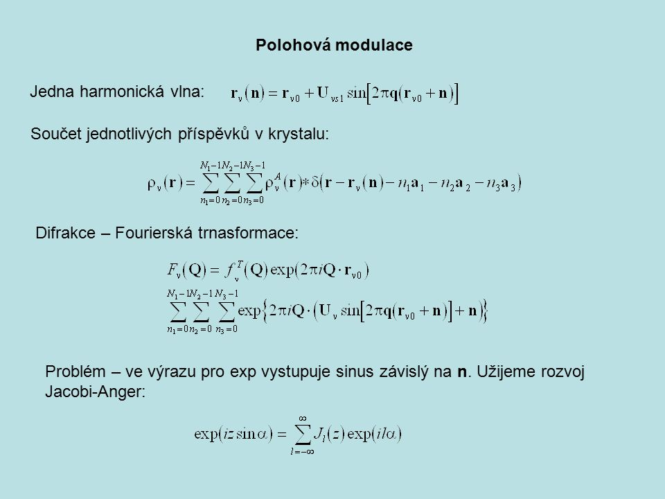 Polohová modulace Jedna harmonická vlna: Součet jednotlivých příspěvků v krystalu: Difrakce – Fourierská trnasformace: