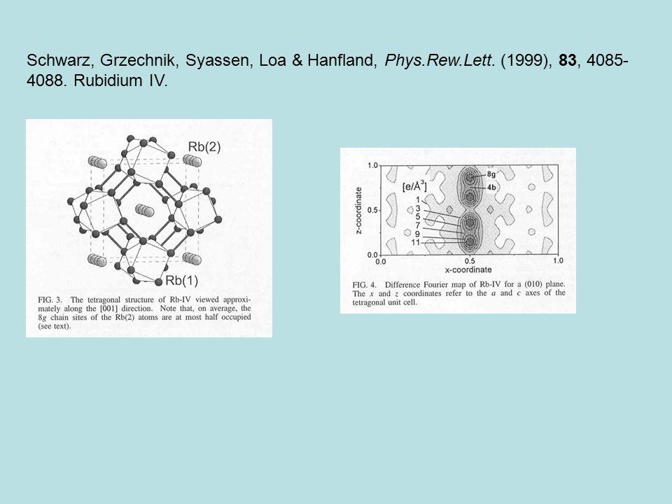 Schwarz, Grzechnik, Syassen, Loa & Hanfland, Phys. Rew. Lett