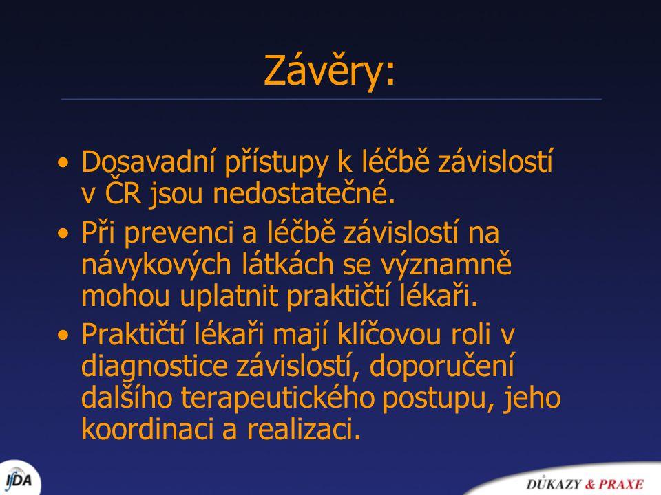 Závěry: Dosavadní přístupy k léčbě závislostí v ČR jsou nedostatečné.