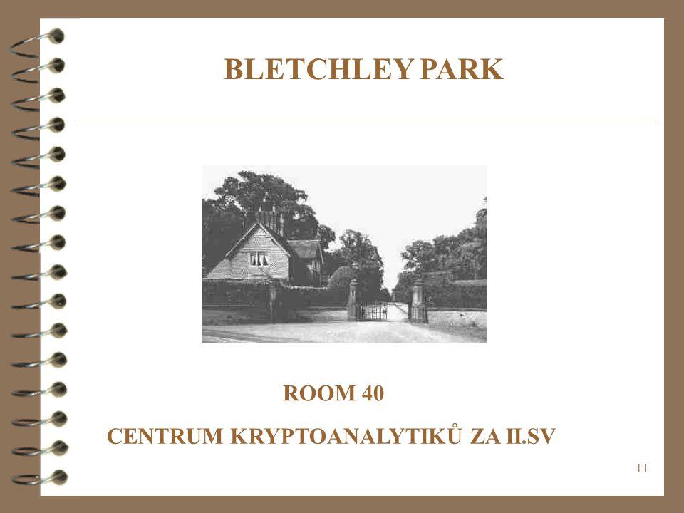 BLETCHLEY PARK ROOM 40 CENTRUM KRYPTOANALYTIKŮ ZA II.SV
