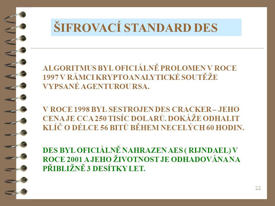 ŠIFROVACÍ STANDARD DES
