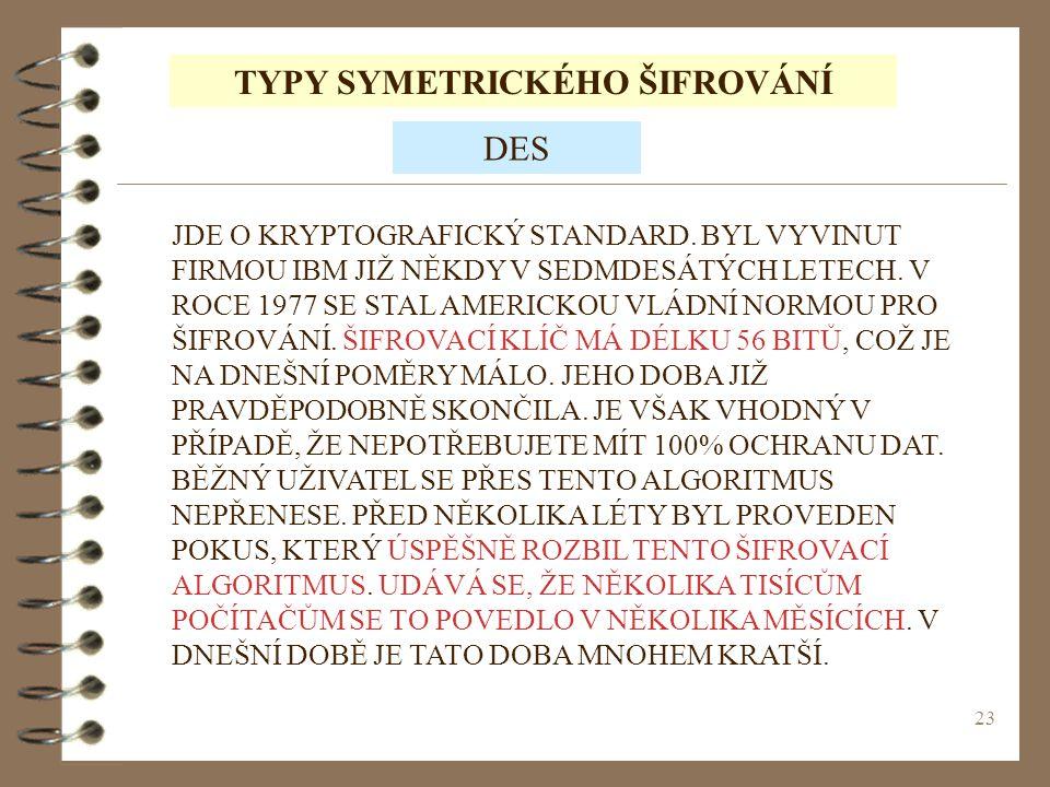 TYPY SYMETRICKÉHO ŠIFROVÁNÍ