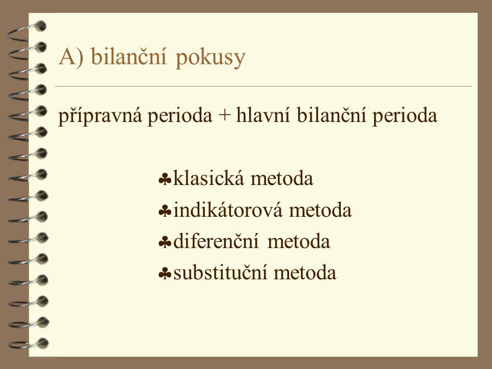 A) bilanční pokusy přípravná perioda + hlavní bilanční perioda