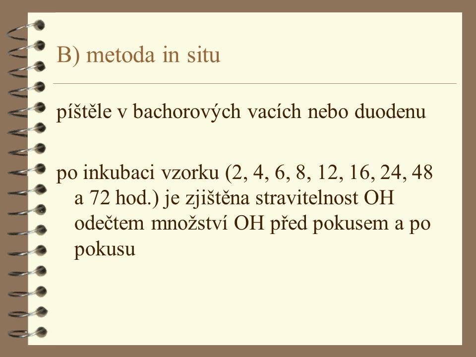 B) metoda in situ píštěle v bachorových vacích nebo duodenu